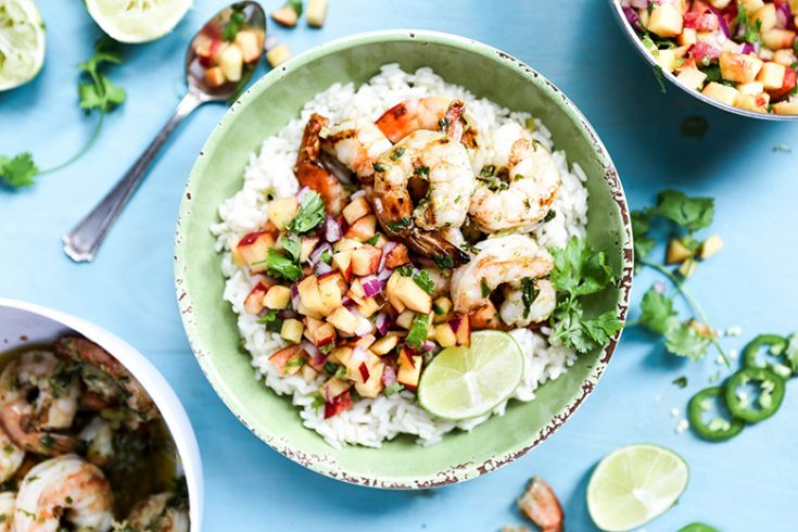 Spicy Grilled Shrimp with Coconut-Lime Rice and Peach Salsa