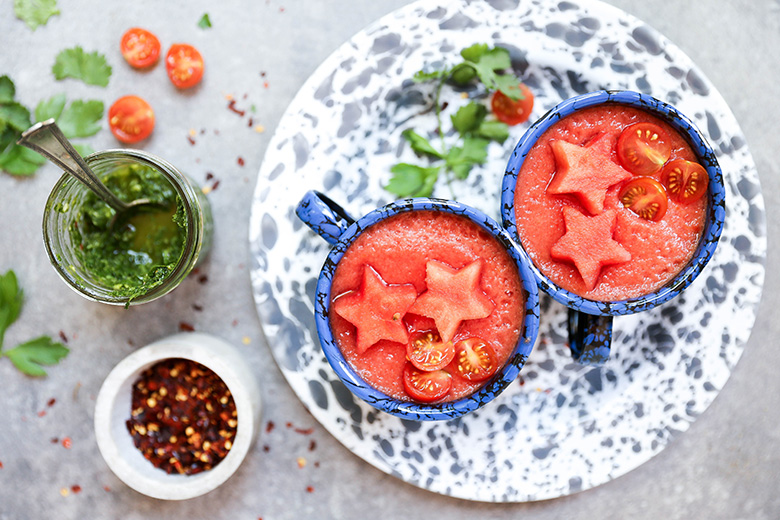Watermelon and Tomato Gazpacho with Chimichurri Sauce