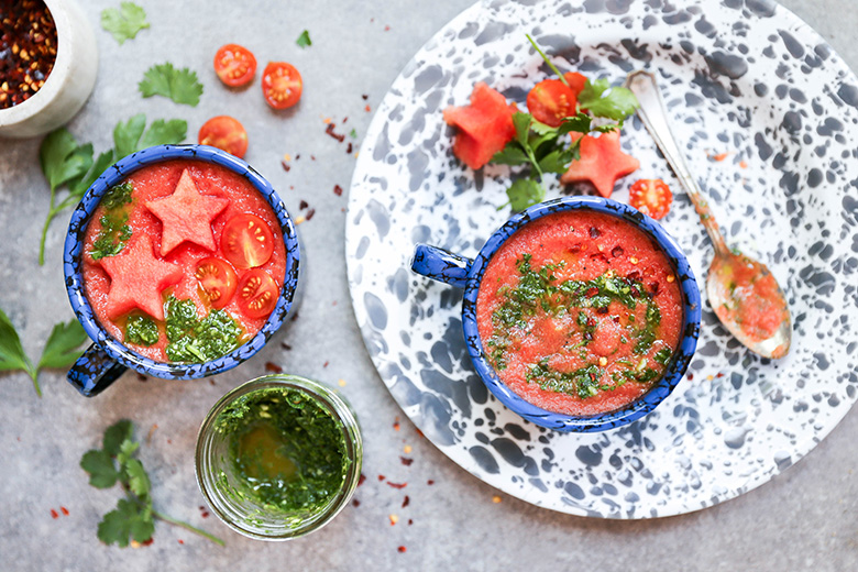 Watermelon and Tomato Gazpacho with Chimichurri Sauce | www.floatingkitchen.net