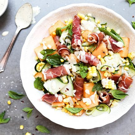 Corn, Zucchini and Cantaloupe Salad with Prosciutto and Fresh Herbs | www.floatingkitchen.net
