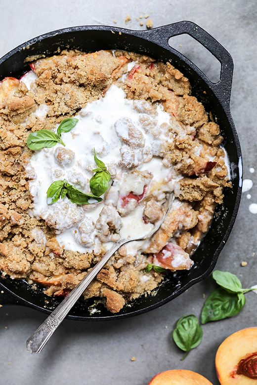 Easy Skillet Peach-Basil Cobbler | www.floatingkitchen.net