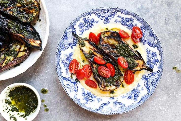 Grilled Eggplant with Goat Cheese Polenta and Basil Pesto
