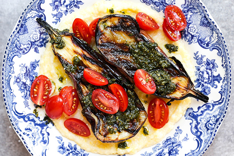 Grilled Eggplant with Goat Cheese Polenta and Basil Pesto | www.floatingkitchen.net