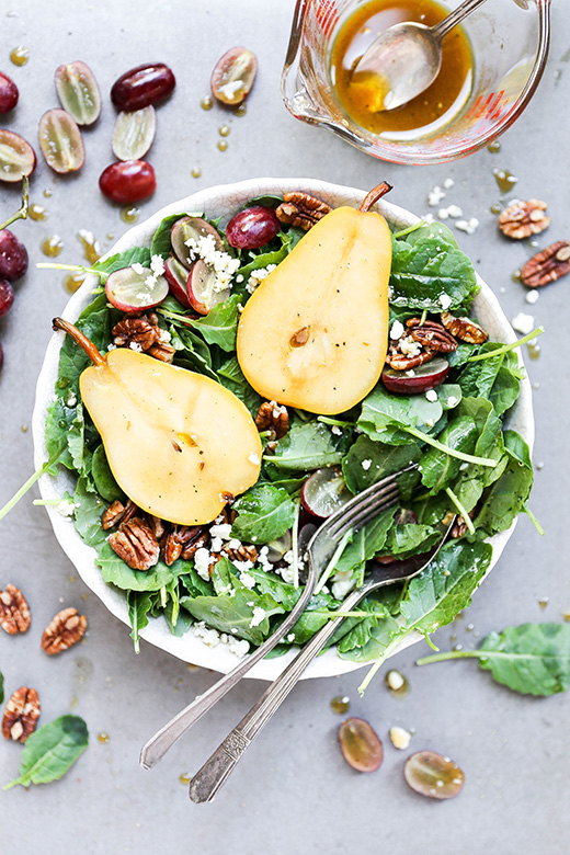 Autumn Kale Salad with Sautéed Pears | www.floatingkitchen.net