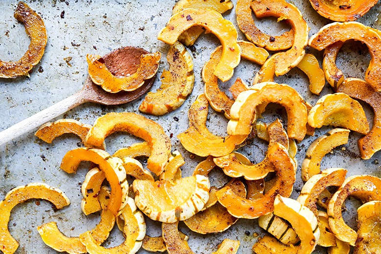 Roasted Delicata Squash with Pomegranate and Goat Cheese | www.floatingkitchen.net
