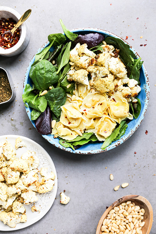 Za'atar Roasted Cauliflower and Tortellini Salad | www.floatingkitchen.net