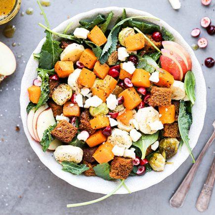 Autumn Harvest Panzanella Salad with Pumpkin Bread | www.floatingkitchen.net