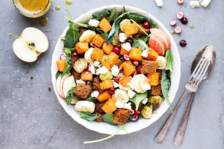 Autumn Harvest Panzanella Salad with Pumpkin Bread