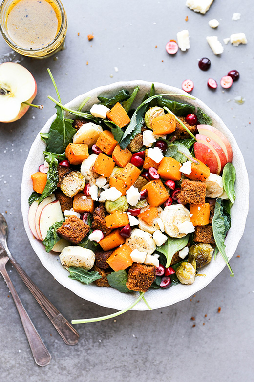 Autumn Harvest Panzanella Salad with Pumpkin Bread | www.floatingkitchen.net