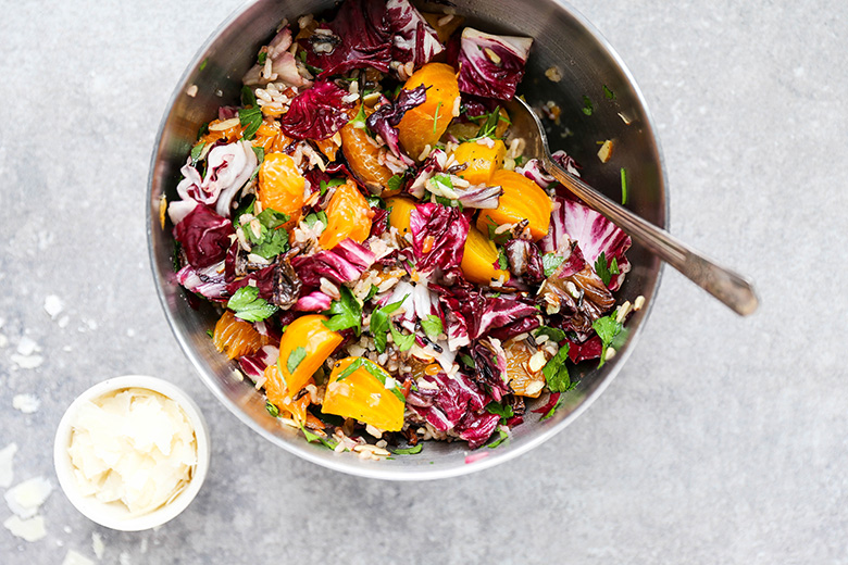 Roasted Beet and Radicchio Salad with Wild Rice and Tangerines | www.floatingkitchen.net