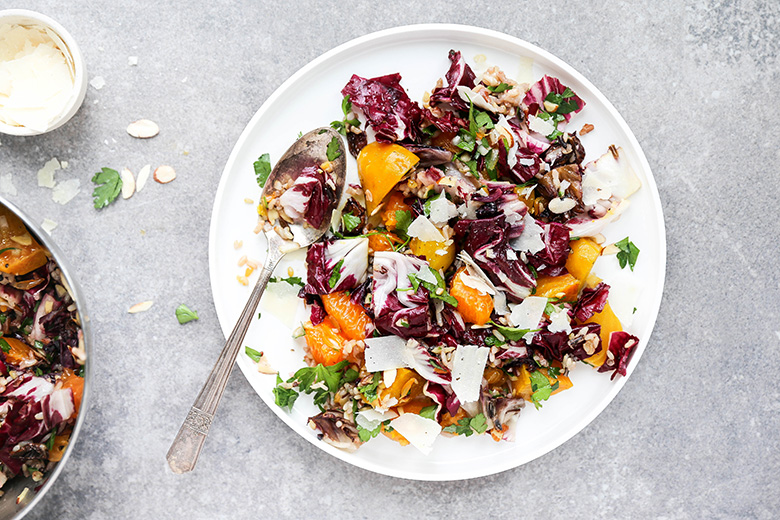 Roasted Beet and Radicchio Salad with Wild Rice and Tangerines