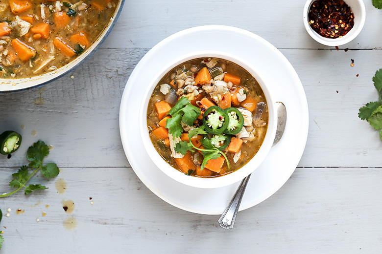 White Bean Chili with Chicken and Sweet Potatoes | www.floatingkitchen.net