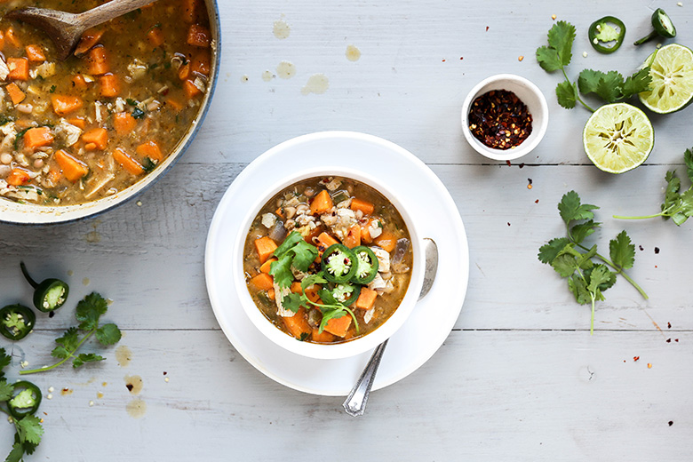 White Bean Chili with Chicken and Sweet Potatoes
