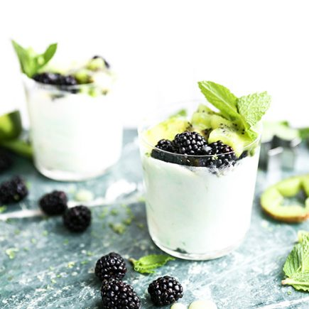 Kiwi and Lime Curd Fools with Blackberries | www.floatingkitchen.net