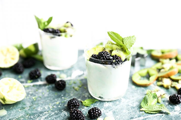 Kiwi and Lime Curd Fools with Blackberries