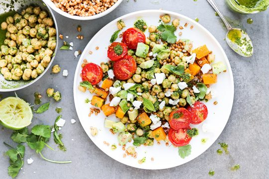 Tomato and Butternut Squash Grain Bowls with Chickpeas and Herb Lime Dressing | www.floatingkitchen.net