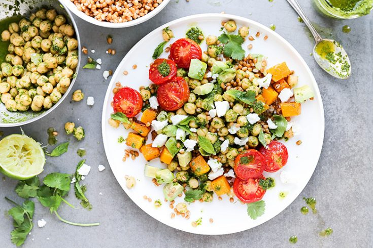 Tomato and Butternut Squash Grain Bowls with Chickpeas and Herb-Lime Dressing