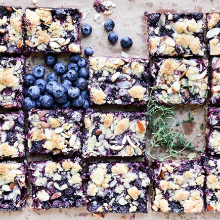 Blueberry-Thyme Pie Bars with Almonds | www.floatingkitchen.net