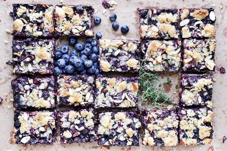 Blueberry-Thyme Pie Bars with Almonds