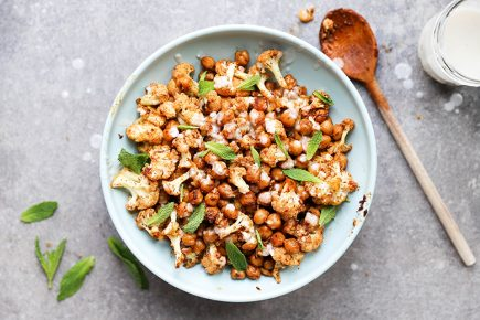 Harissa Roasted Cauliflower and Chickpeas with Coconut Sauce | www.floatingkitchen.net