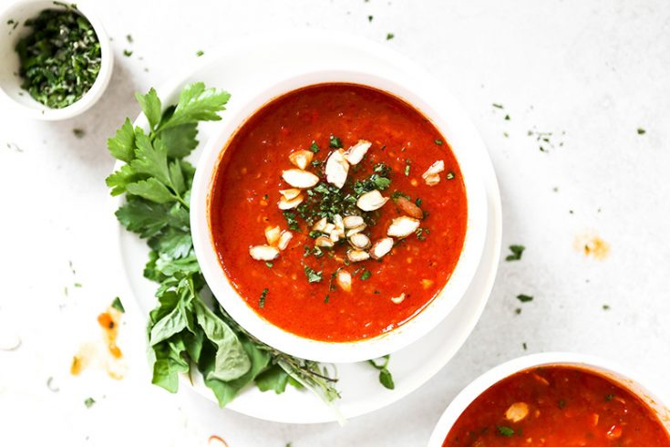Roasted Tomato and Red Pepper Soup with Fresh Herbs