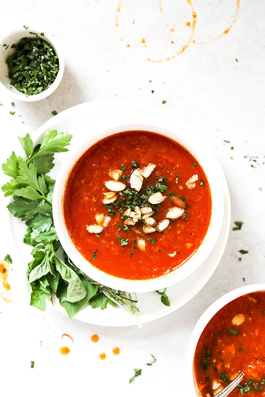 Roasted Tomato and Red Pepper Soup with Fresh Herbs | www.floatingkitchen.net
