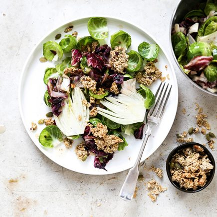 Warm Radicchio, Brussels Sprout and Fennel Salad with Tahini Granola | www.floatingkitchen.net