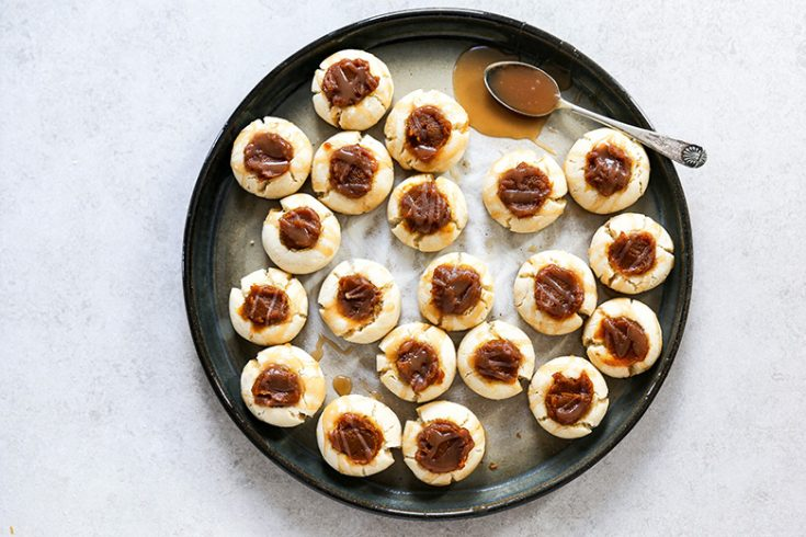 Pumpkin Butter Thumbprint Cookies with Whiskey Caramel Sauce Drizzle