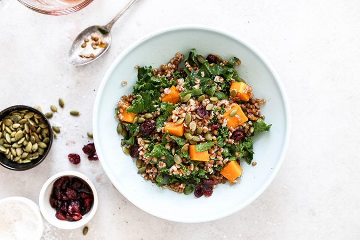 Wheat Berry Salad with Whiskey-Soaked Cranberries, Kale and Roasted Butternut Squash