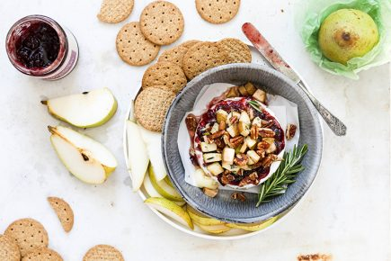 Cranberry-Pear Baked Brie with Pecans | www.floatingkitchen.net
