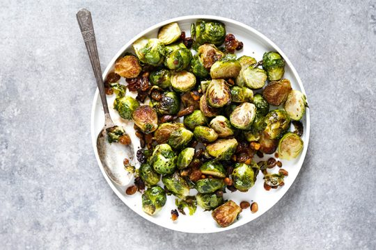 Roasted Brussels Sprouts with Golden Raisins and Pistachios   www.floatingkitchen.net