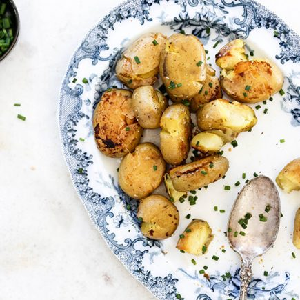 Crispy Smashed Potatoes with Miso Butter | www.floatingkitchen.net