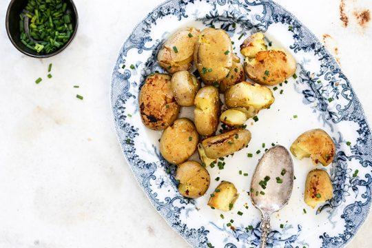 Crispy Smashed Potatoes with Miso Butter   www.floatingkitchen.net