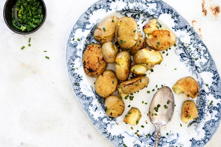 Crispy Smashed Potatoes with Miso Butter