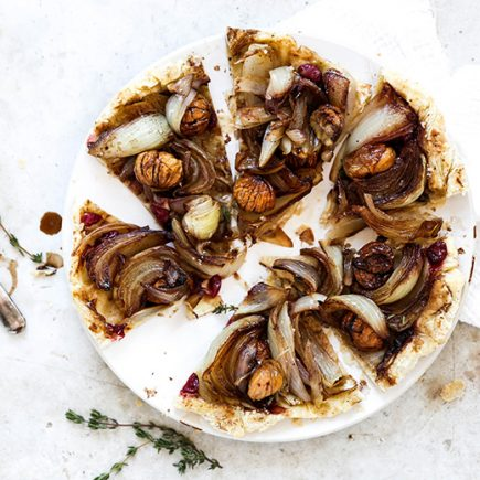 Onion Tarte Tatin with Chestnuts and Cranberries | www.floatingkitchen.net