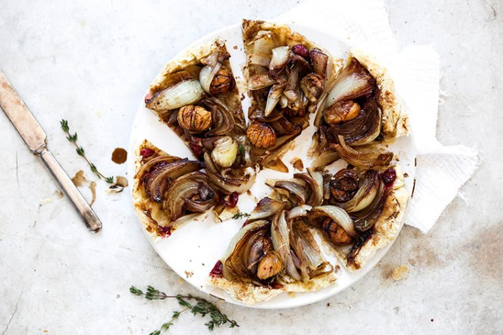 Onion Tarte Tatin with Chestnuts and Cranberries
