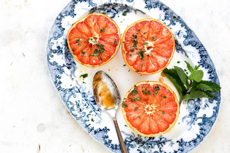 Baked Grapefruit with Mint