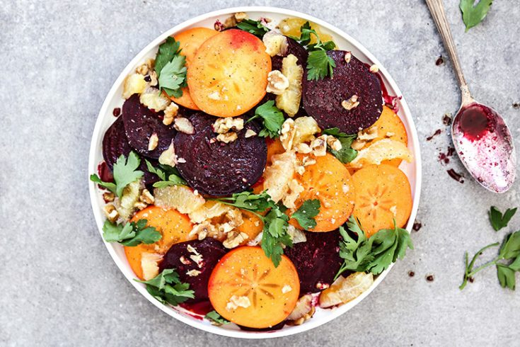 Winter Beet, Persimmon and Meyer Lemon Salad