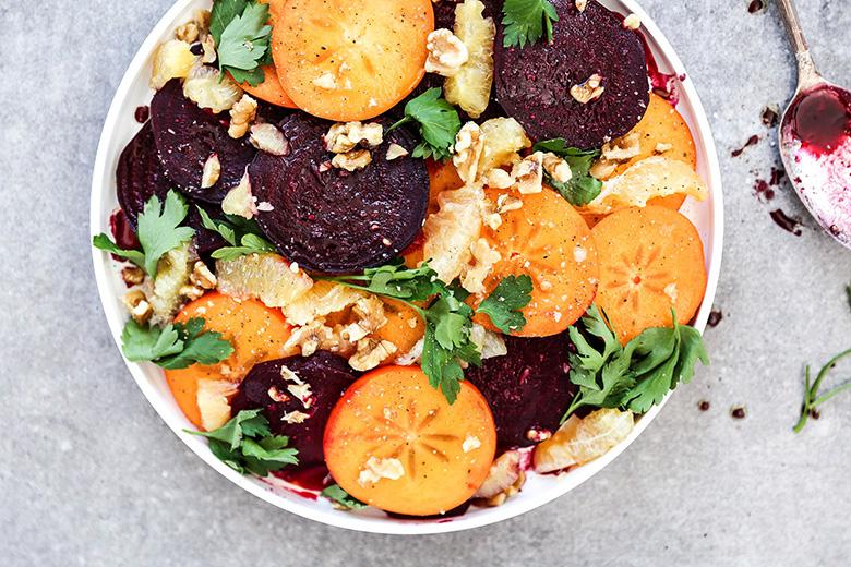 Winter Beet, Persimmon and Meyer Lemon Salad | www.floatingkitchen.net