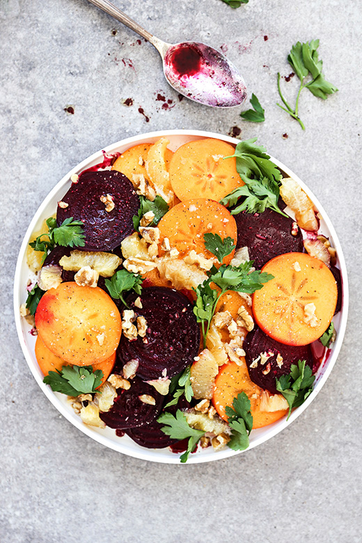 Winter Beet, Persimmon and Meyer Lemon Salad | www.floatingkitchen.net