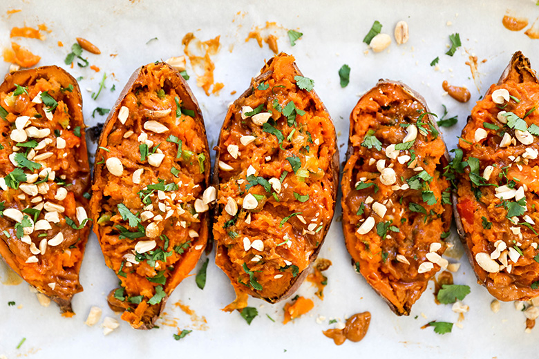 Thai Stuffed Sweet Potato Skins | www.floatingkitchen.net