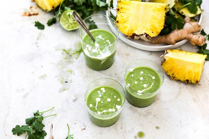 Tropical Cilantro Pineapple Smoothies