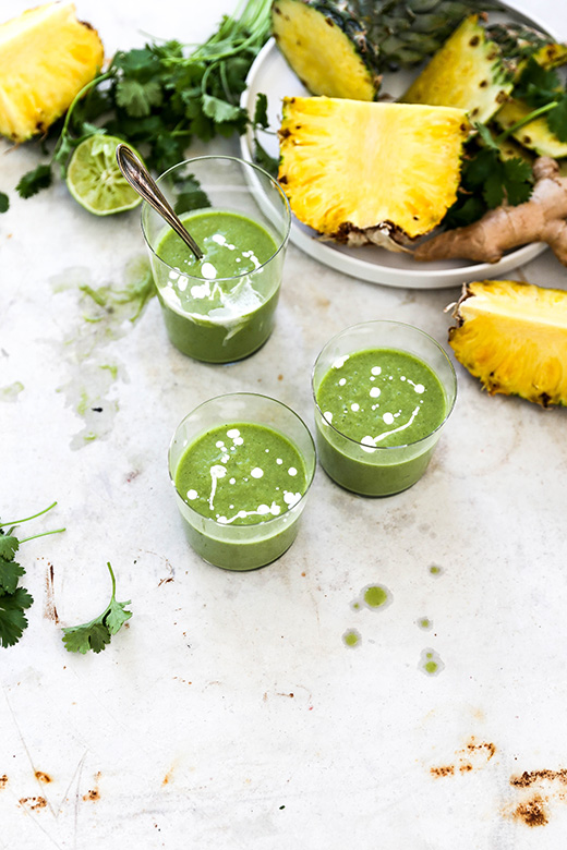 Tropical Cilantro Pineapple Smoothies | www.floatingkitchen.net