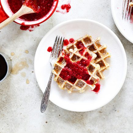 Buttermilk Waffles with Rosé Raspberry Sauce | www.floatingkitchen.net