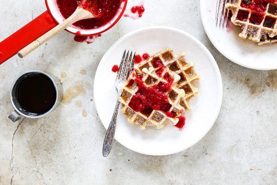 Buttermilk Waffles with Rosé Raspberry Sauce | www.floatingkitchen.net