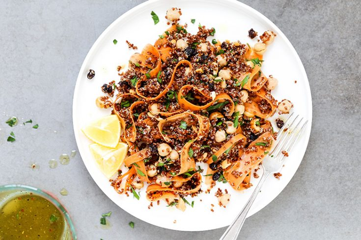 Quinoa and Shaved Carrot Salad with Chickpeas, Currants and Cashews