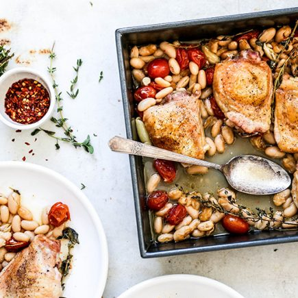 One-Pan Chicken and White Beans with Tomatoes, Garlic and Herbs | www.floatingkitchen.net