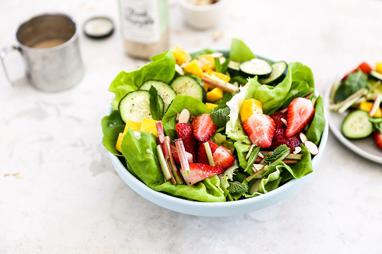 Tender Butter Lettuce Salad with Strawberries, Rhubarb, Mango, Cucumbers and Rosé Vinaigrette | www.floatingkitchen.net