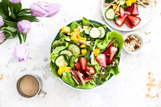 Tender Butter Lettuce Salad with Strawberries, Rhubarb, Mango, Cucumbers and Rosé Vinaigrette   www.floatingkitchen.net