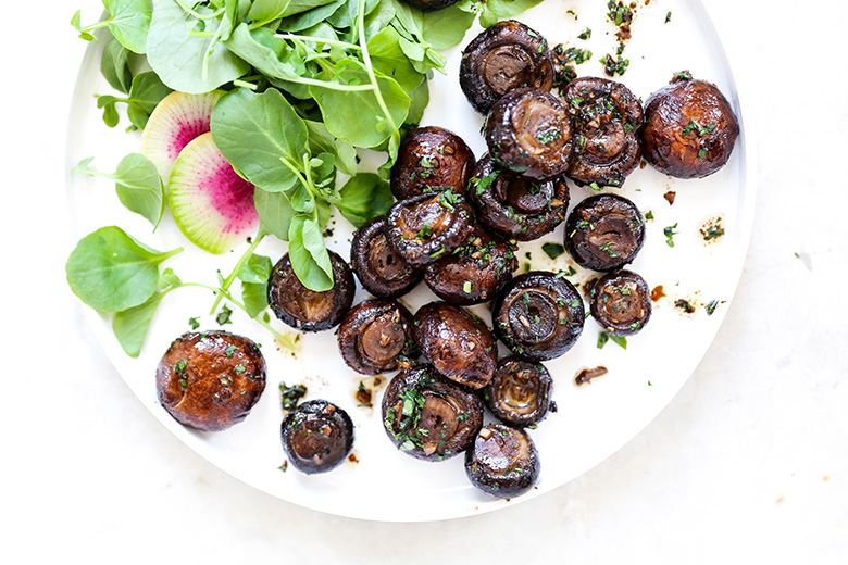 Miso Butter Roasted Mushrooms with Fresh Herbs | www.floatingkitchen.net